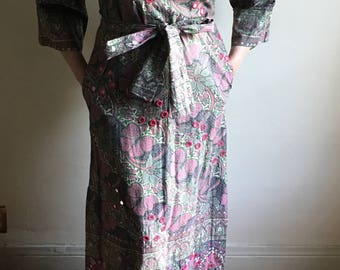 vintage.  I Magnin Early 60s One of a Kind Indian Color Blocked Kaftan // Cotton Caftan // S to M