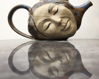 Face Teapot Sculpture Head Surreal Serving Art Dreaming Goddess Smile with Flying Nude Bas Relief Figurine
