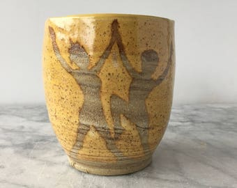 Dance cup art pottery wax resist painting partner dancing figures yunomi teacup vessel