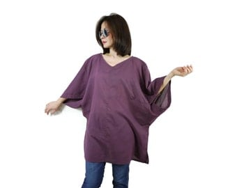 Oversize Boho Casual Elegant 3/4 Sleeve Drop Shoulder V Neck Azo Free Color Dusty Plum Light Cotton Blouse Women Top - SM699