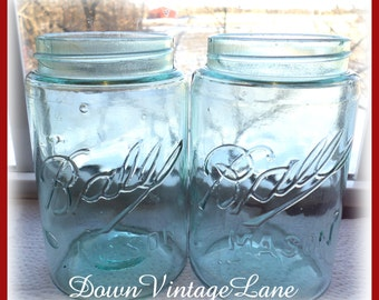 2 OLD FASHIONED Blue Ball Jars PINT Size Mason Jars Canning Jars Set of 2
