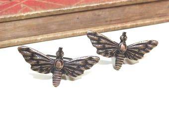 Antique Brass Moth Cuff Links - Butterfly Cufflinks - Wedding Cuff Links - Bridal Party - Luna Moth Lunar Moth Spotted Moth