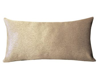 "Luxe Snakeskin Texture Lumbar Pillow Cover, Animal Skin Cushions, Modern Pillows, 12"" x 24""  Pillows, Modern Home Decor, Taupe Color Pillows"