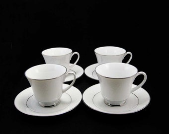 Noritake Contemporary China Tahoe Pattern #2585 Tea Cup & Saucers (8 PCS)