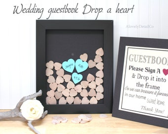 wedding drop top guestbook drop box guest book   heart drop guest book