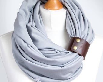 COTTON Infinity SCARF, gray scarf with leather clasp/cuff bracelet, infinity scarf, cotton scarf, tube scarf, basic scarf
