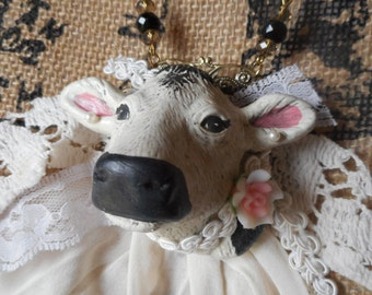 Whimsical wearable art jewelry statment necklace Millie the Cow vintage lace pearls country chic boho one of a kind shabby chic mixed media
