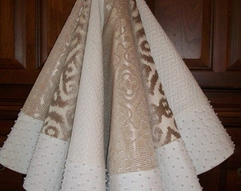 """58"""" White and Champagne  Hand Beaded Reversible Christmas Tree Skirt  2017 Collection"""