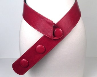Vintage 1980s Red Genuine Snakeskin Wide Belt