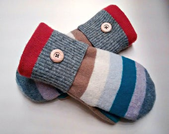Color Stripe Mittens, colorful mittens, tan, blue, orange, medium mittens, recycled sweaters, women's mittens, fleece lined mittens