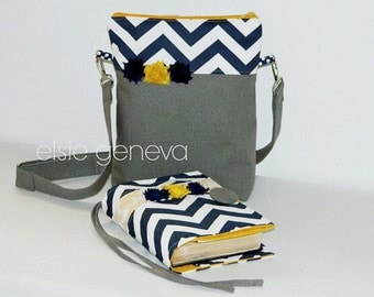 Design Your Own Combo Made to Fit  Bible / Journal Cover and Matching Tote Purse or Navy Blue Chevron Mustard Grey Linen Rosettes