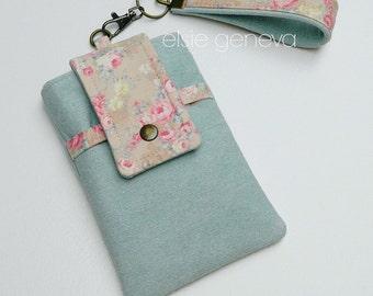 Denim Floral Phone Case with Wristlet - Vintage Roses - iPhone 6 6S Plus Samsung Otterbox - Optional Shoulder Strap - Serenity & Rose Quartz