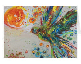 The Colors of Peace II Colorful Dove Original Art Birthday Card