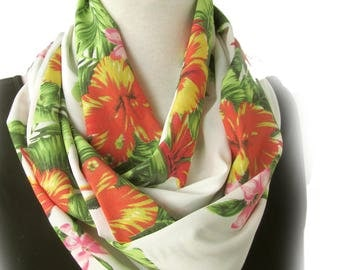 Tropical Flower Infinity Scarf - Hibiscus Loop Scarves - Modern Scarf for Work - Hand Made in Australia