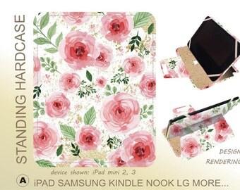 Pink Floral Galaxy Tab 8 case Galaxy Tab A 8 Tab E 8 Tab S2 9.7 Tab E 10 Tab S2 8 Tab A 9.7 Tab 3 Tab S 10.5 Tab S  iPad Mini 4 iPad Air 2