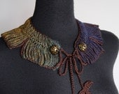 Khaki Dark Purple Brown Mustard Color Statement Collar Crochet Necklace with Flower Leaf Ties and Beads