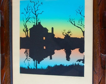Silkscreen Signed Print Limited Edition 2/7  Rustic Hand Carved Wood Frame