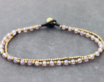 Rose Pink Faceted Crystal Brass Double Strand Anklet
