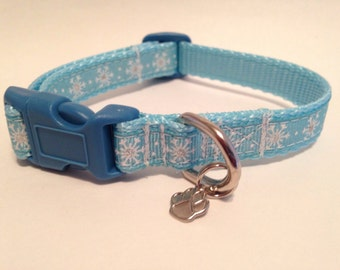 Extra Small Baby blue snowflakes Holiday dog collar