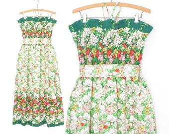 70s Sun Dress * Vintage Floral Sundress * 1970s Smocked Maxi Dress * Medium