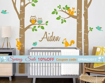 Birch Trees Nursery Wall Decal, Forest Animals  and Birch Trees Wall Decal, Owsl Squirrels Birds Wall Sticker for Kids Baby Room Decor