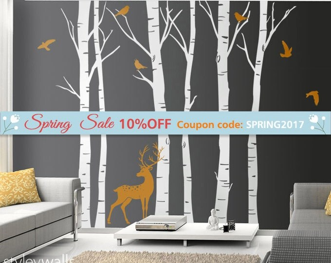 Birch Trees Wall Decal Winter Trees Wall Decal Deer Wall Decal Birds in Winter Nature Wall Decal Birch Tree Wall Decor, Forest Tree Sticker