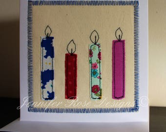 Appliquéd fabric card ~ Candles, Birthday, Handmade in Wales, 5x7""