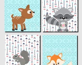Woodland Animal Nursery Art, Girl Nursery Decor, Aqua, Coral, Navy, Fox, Deer, Raccoon, Hedgehog, Squirrel, Set of 4, Canvas or Prints