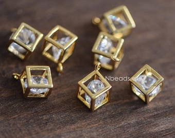 5pcs Gold plated Brass Cube Charms 8mm with Rhinestone Inside  (GB-042)