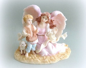 Seraphim Collectible Angel Figurine Angel Art Christmas Angel Decor Angel Decoration Angel Sculpture Angel Figure Angel with Boy Lamb Statue