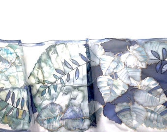 "Hand painted silk scarf ""Blue Evening"" .Silk scarf with decorative light and dark blue leaves- original artwork- pure silk ( chiffon)"
