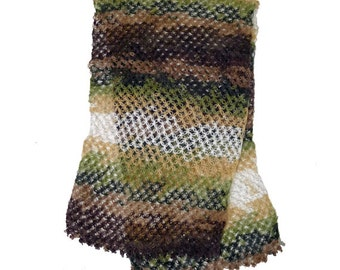 "Hand Crochet Earth Tones Brown Green White Super Soft Angora Wool Chunky Scarf, Shawl 15"" X 60"""