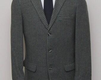 1960s men's green houndstooth blazer/ 60s men's houndstooth blazer/ Harwyn Hall