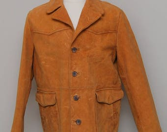 Vintage 1980s men's caramel suede coat/ Vint men's suede coat/ Gap