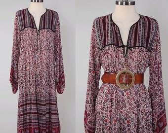 Vintage 70s cotton gauze INDIAN dress / Paisley floral print india dress / Dark earth tones