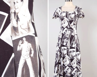 Vintage 80s does 50s ELVIS photograph print dress / Pearl snap front