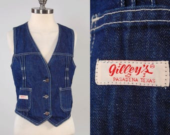 Vintage 70s 80s dark denim GILLEYS jean vest / Urban Cowboy vest / Western cowgirl vest / Bull Ridin Quality, Ride at Your Own Risk