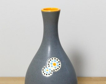 SALE!!  Ceramic Bud Vase, Flower Vase, Small Stoneware Vase, Bottle Vase in Gray and Orange  by Nstarstudio