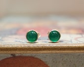 Emerald Green Color Green Agate Gemstone,  Sterling Silver Earrings, Stud Earrings, Birthday Gift, Mother's Day Gift