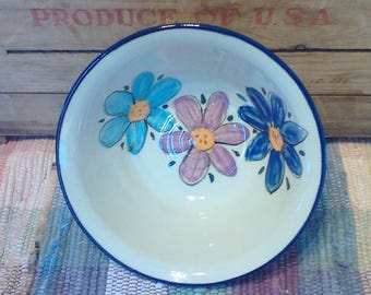 Wildflower garden flowers bowl - 24 oz - pottery serving dish - decorative serving bowl - salad bowl - pottery serving bowl - 1736