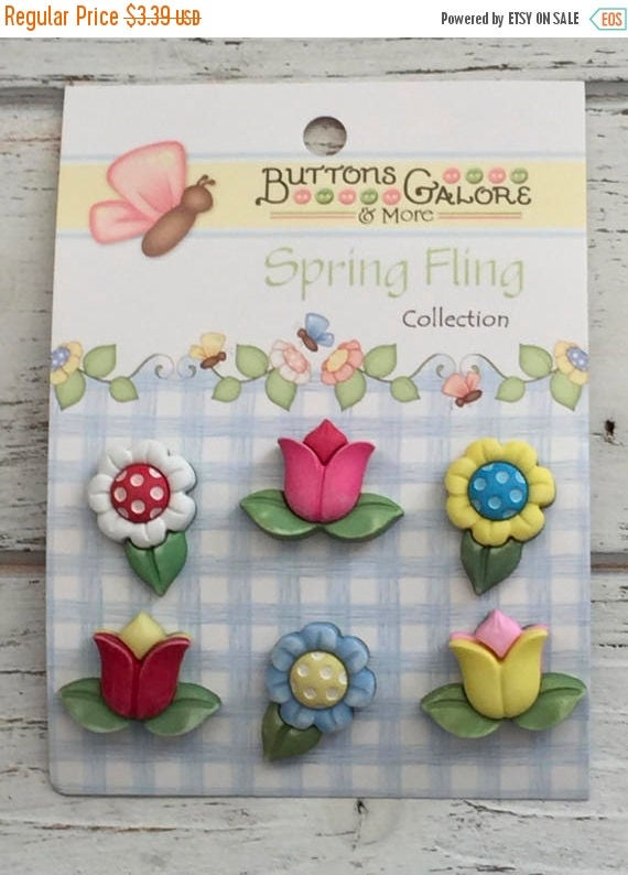 "SALE Flower Buttons, Tulip and Daisy Buttons, Carded Novelty Buttons, ""Spring Flowers"" Style SF104 by Buttons Galore, Bright Flower Buttons"