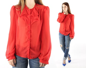 Vintage 70s Tuxedo Shirt Semi Sheer Red Ruffled Blouse Long Sleeve Top Ascot Button Up 1970s Medium M