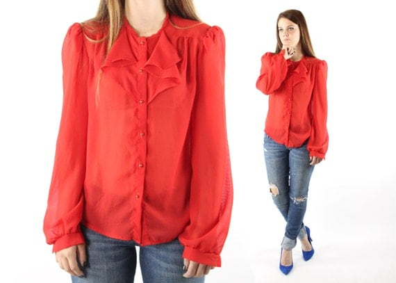 Vintage 70s tuxedo shirt semi sheer red ruffled blouse long for Red ruffled tuxedo shirt