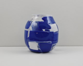 Blown Glass Vase - Blue and White Tile