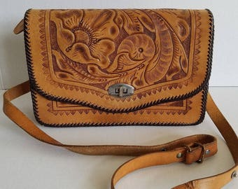 Vintage Tan Light Brown Mexican Tooled Floral Handbag Shoulder Bag