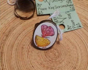 Scrimshaw Adjustable Ring Lovely Red Butterfly and Yellow Flower OOAK Great Gift Idea
