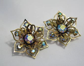 1950s Aurora Borealis Clip on Earrings