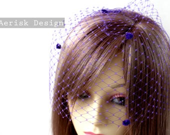 Royal Purple Chenille Dot Blusher Veil (4 color option) Hat veiling for pill box hats, Birdcage style russian veil for teaparty and derby