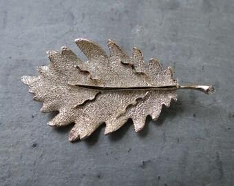 Vintage Leaf Brooch by BSK - Midcentury Costume Jewelry Pin - Silvertone