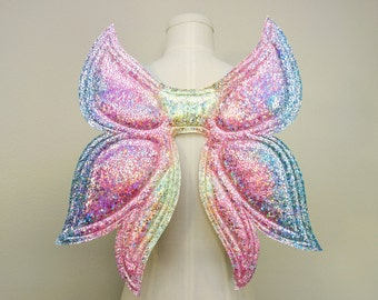 Petite Fairy Wings, Pastel Neon Rainbow Wings, costume wings, Halloween Costume, cosplay wings, festival wear, rave wear, butterfly wings